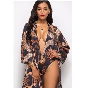 Vintage Print Swimsuit w/ Matching Coverup